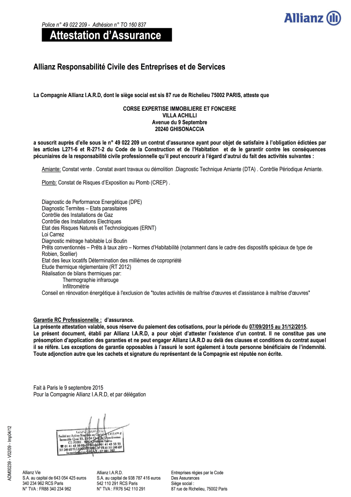 Attestation corse diag corse expertise immobili re et fonci re - Chambre des experts immobiliers ...